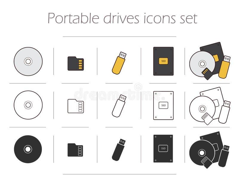 Portable fährt die eingestellten Ikonen lizenzfreie abbildung