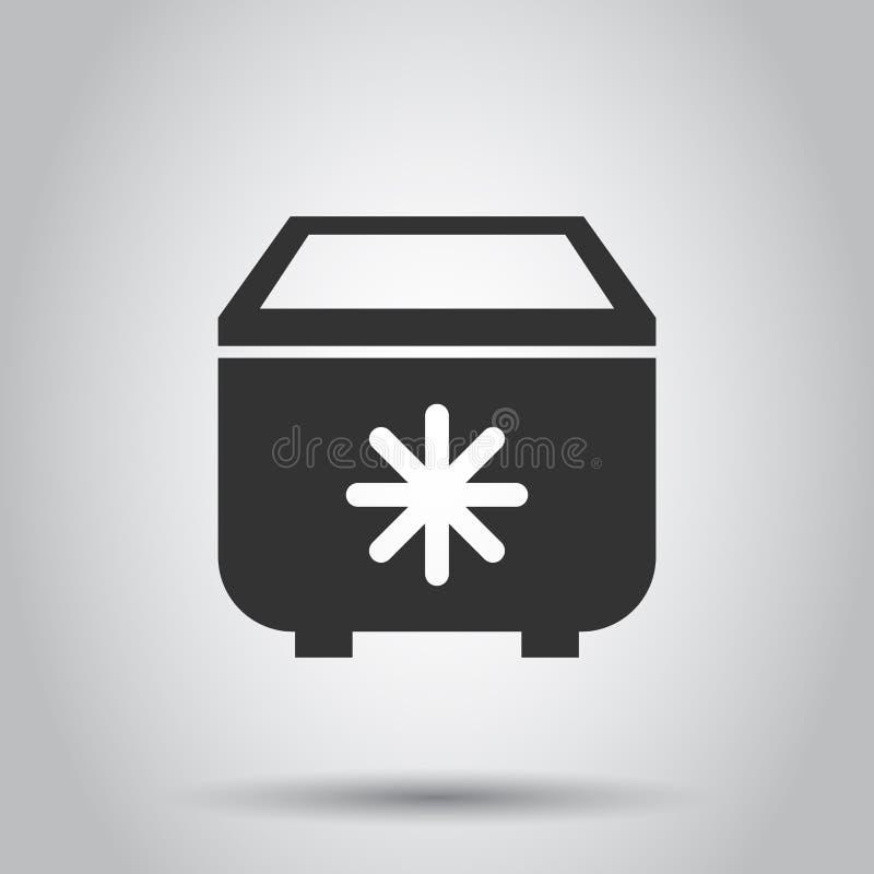 Portable fridge refrigerator icon in flat style. Freezer bag container vector illustration on white background. Fridge business vector illustration