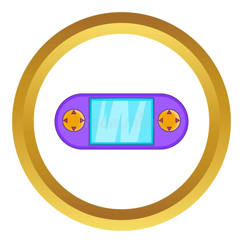 Portable game console icon. In golden circle, cartoon style isolated on white background vector illustration