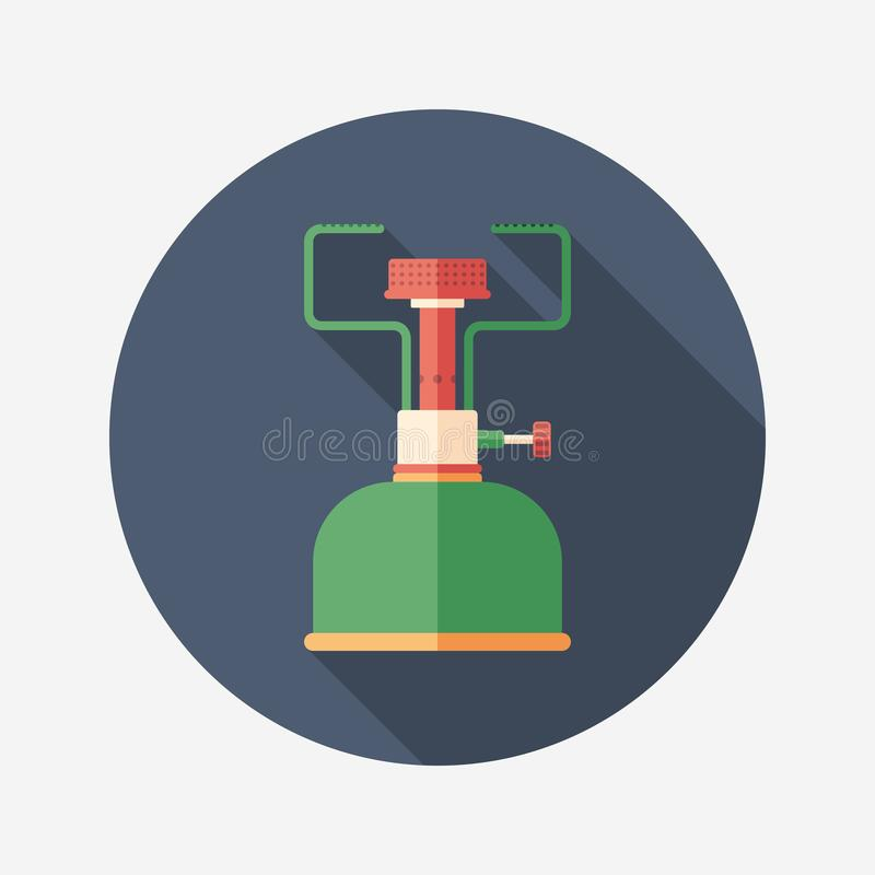 Portable gas burner flat round icon with long shadows. royalty free illustration