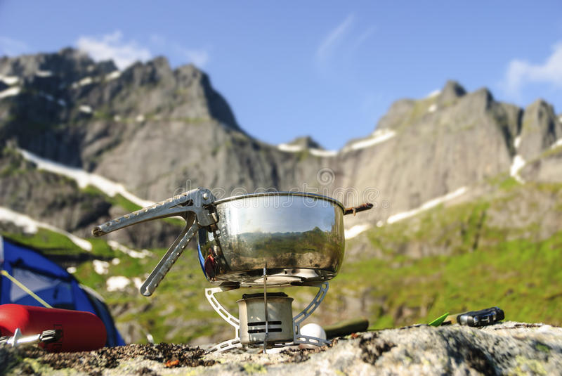 Portable gas burner in nature stock photos