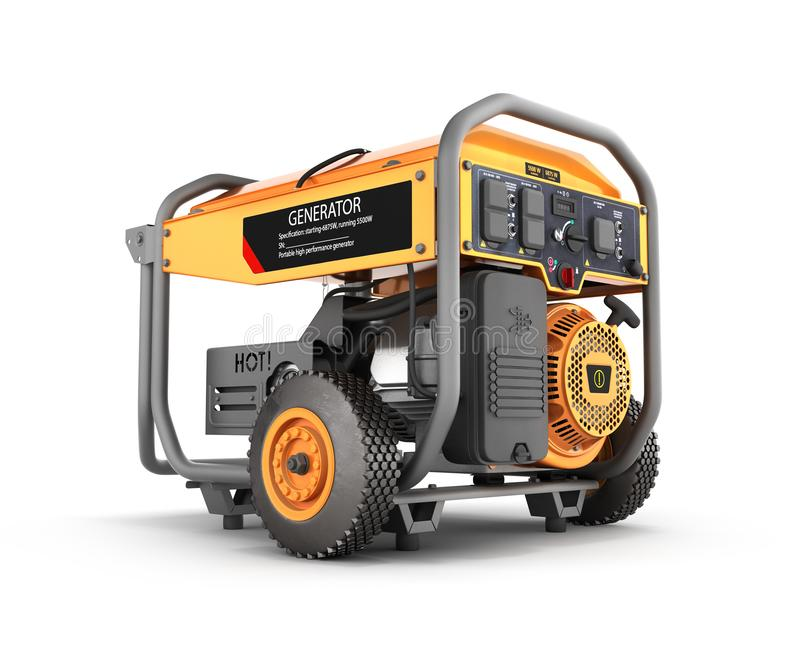 Portable gasoline generator isolated on a white background 3d render vector illustration