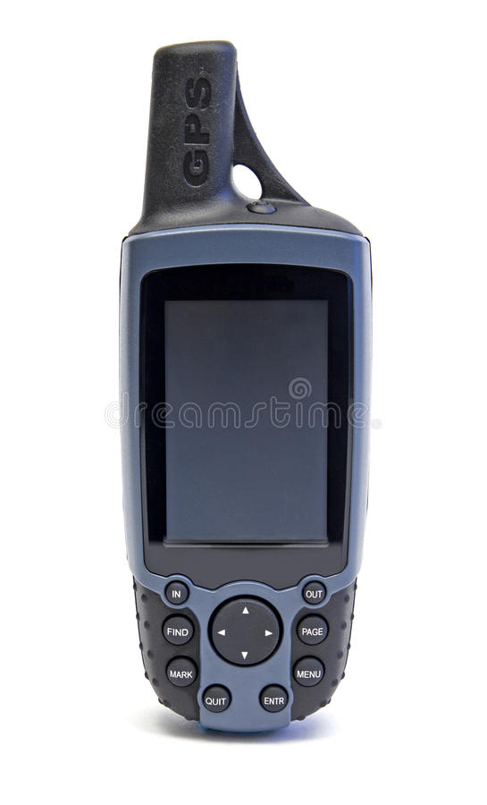Portable gps. Over a white background royalty free stock image