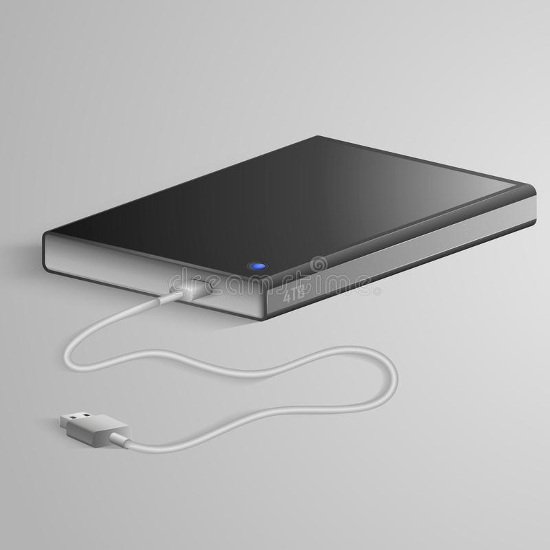 Portable hard drive. With USB cable lies on gray background vector illustration