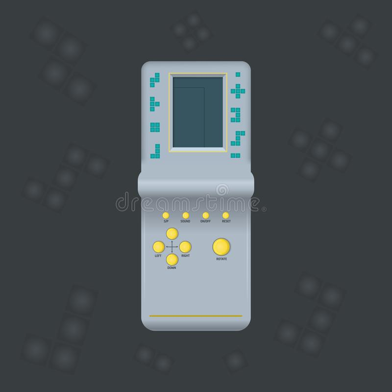 Portable isolated vector game console Tetris. Retro game on game machine. Interactive playing device. Design for print, emblem. royalty free illustration