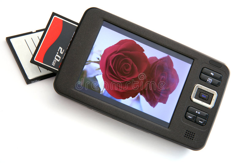 Portable media player 3. A portable music media (MP3) player and mass storage device with a CF card reader stock photo