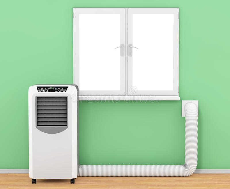 Portable Mobile Room Air Conditioner with Hose connected to Wind. Ow in Room extreme closeup. 3d Rendering vector illustration
