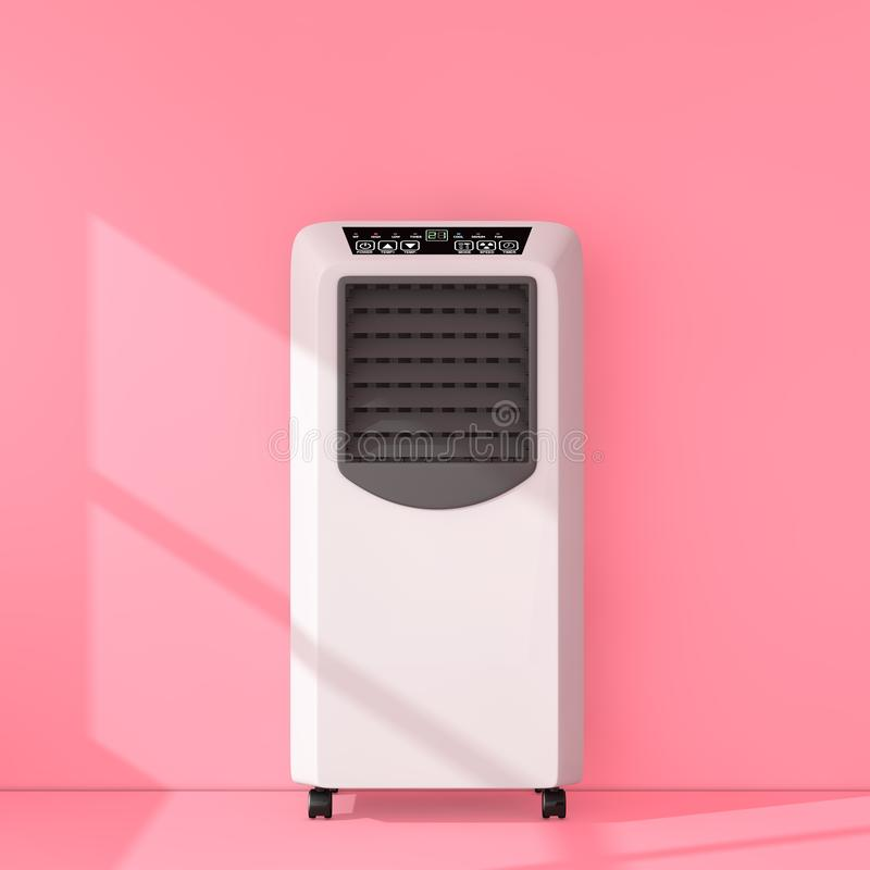 Portable Mobile Room Air Conditioner in Pink Room. 3d Rendering. Portable Mobile Room Air Conditioner in Pink Room extreme closeup. 3d Rendering vector illustration