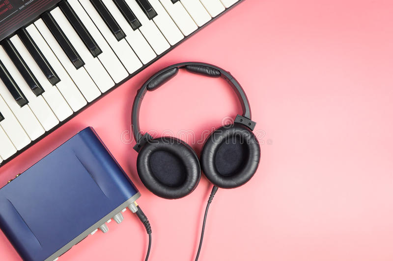 Portable Music studio recording device on pink. Copy space stock images