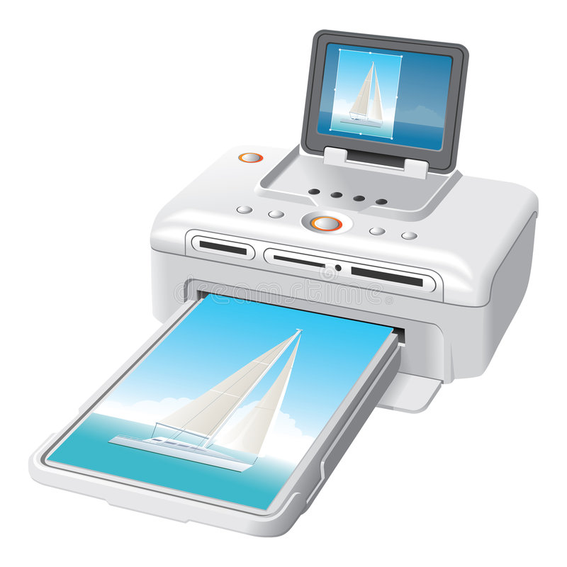 Portable photo printer stock illustration