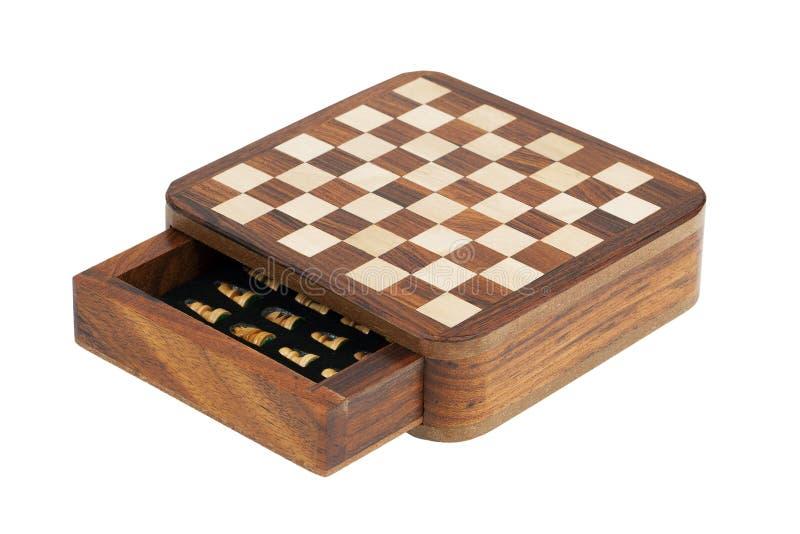 Portable pocket chess board stock image