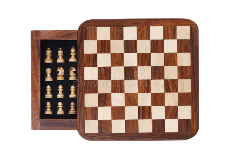 Portable pocket chess board royalty free stock photo