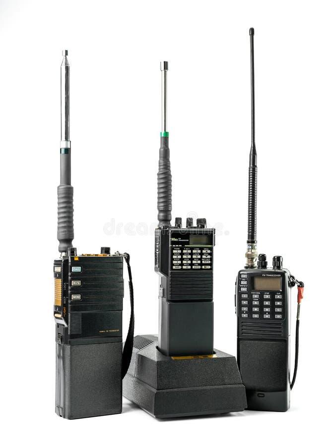 Portable radio set. Portable radio communication set isolated on white stock photography