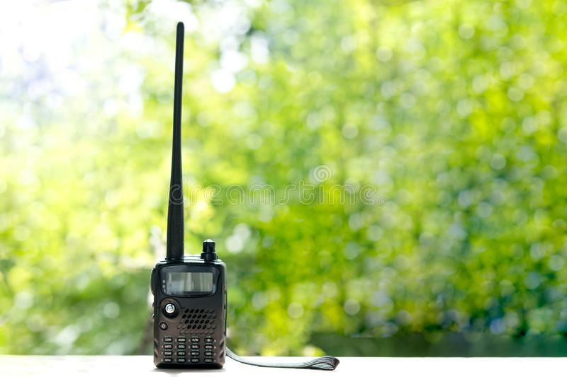 Portable radio stations, walkie-talkie. Security concept stock photos