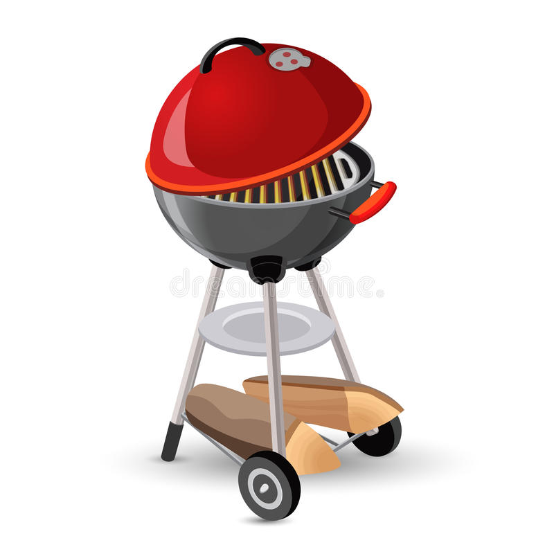 Portable round barbecue with cap bbq grill icon on white vector illustration