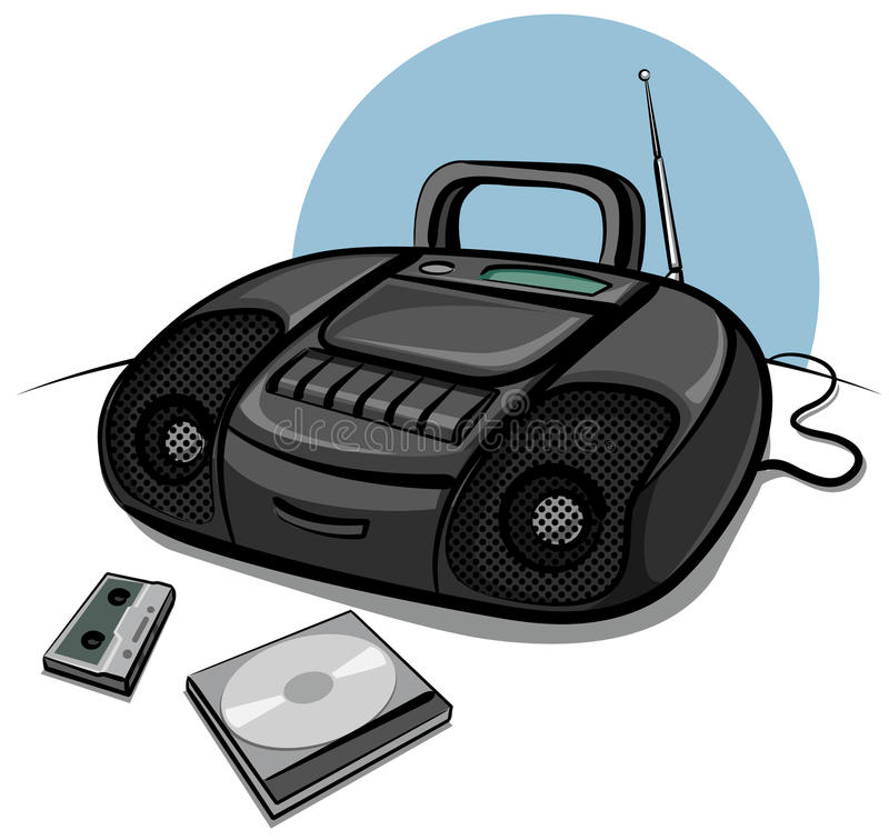 Download Portable Tape Recorder With CD Player Stock Illustration - Illustration: 19498665