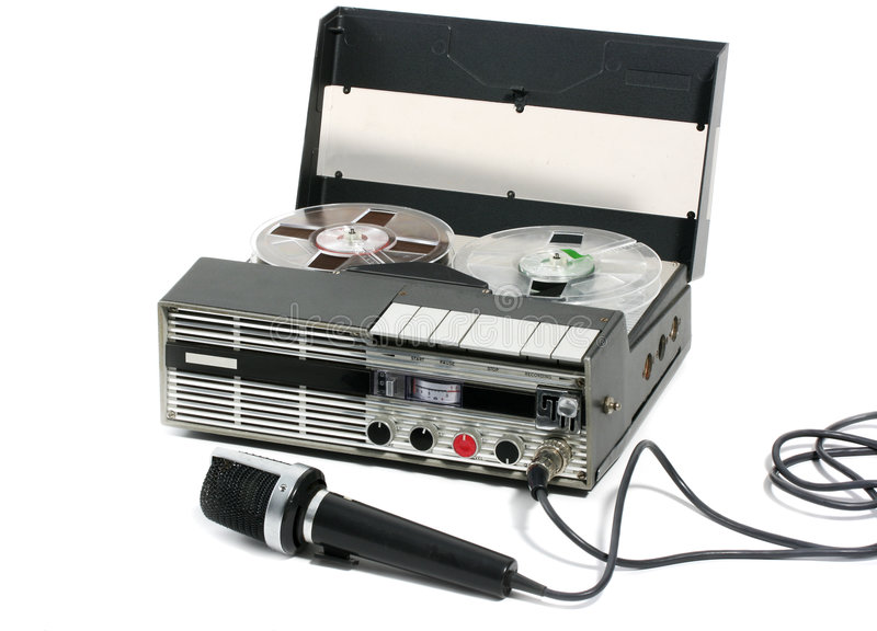 Portable Tape Recorder and microphone stock photo
