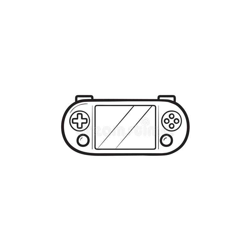 Portable video game console hand drawn outline doodle icon. Handheld game console, gaming gadget concept. Vector sketch illustration for print, web, mobile and royalty free illustration