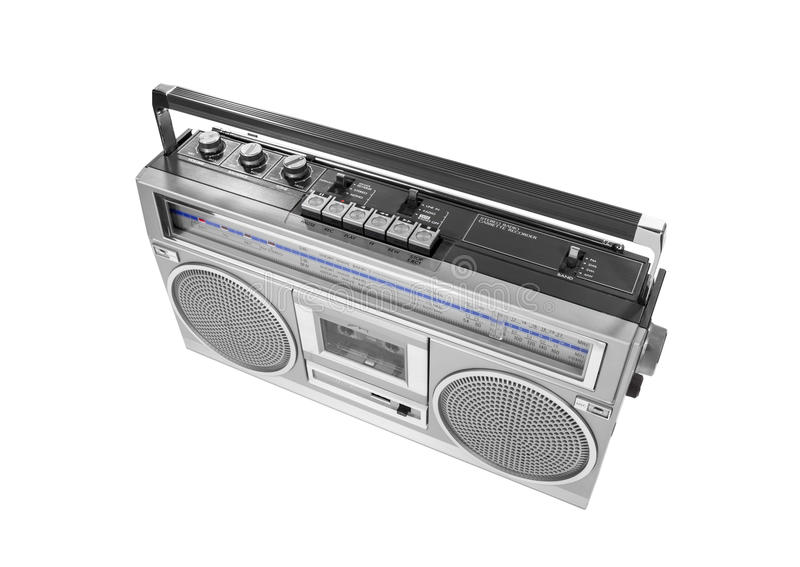 Portable Vintage Radio Cassette Recorder Isolated royalty free stock photography