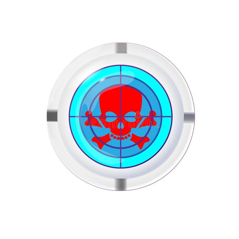 Portacenere con la sigaretta, un simbolo di dipendenza di nicotina Obiettivo sull'icona del cranio, illustrat foto-realistico di  illustrazione di stock