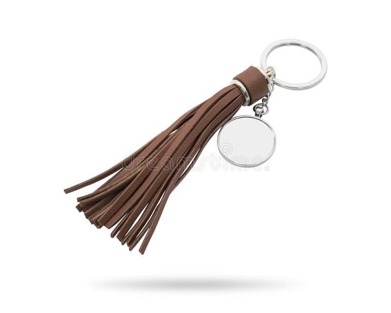 Portachiavi a anello della nappa isolati su fondo bianco Catena chiave di cuoio di modo per la decorazione Oggetto dei percorsi d fotografie stock