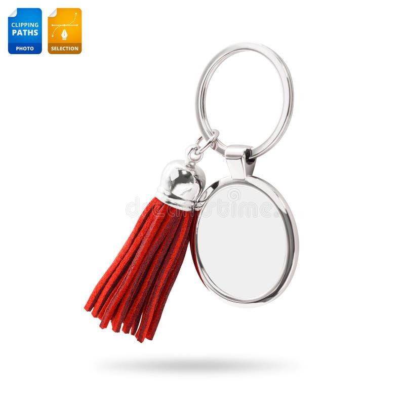 Portachiavi a anello della nappa isolati su fondo bianco Catena chiave di cuoio di modo per la decorazione Oggetto dei percorsi d fotografie stock libere da diritti