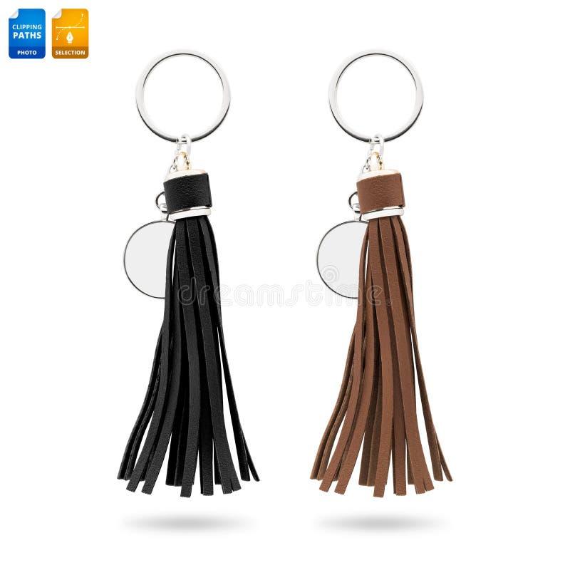 Portachiavi a anello della nappa isolati su fondo bianco Catena chiave di cuoio di modo per la decorazione Oggetto dei percorsi d fotografia stock