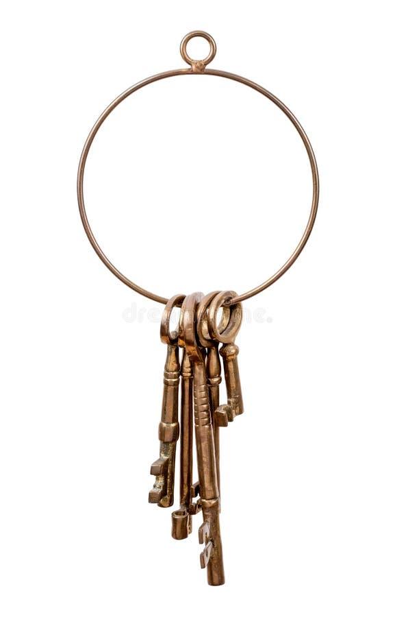 Portachiavi a anello e chiavi d'ottone immagine stock libera da diritti