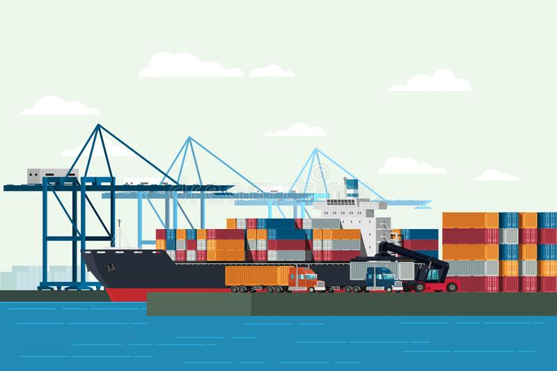 Portacontenedores del camión y del transporte de la logística del cargo con wor ilustración del vector