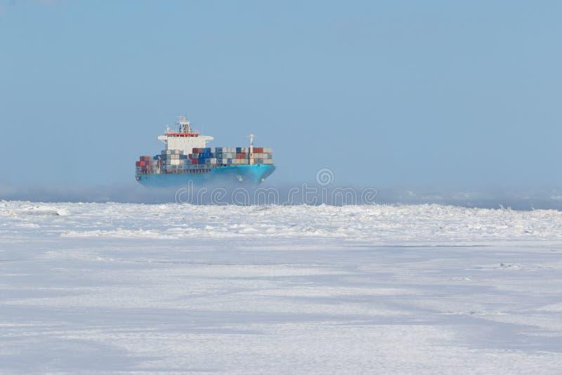 Portacontenedores en las aguas heladas fotos de archivo