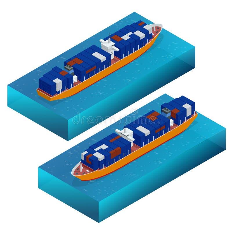 Portacontenedores isométrico Buque de carga Vector detallado del buque de carga aislado Concepto global del envío de cargo Nave d stock de ilustración