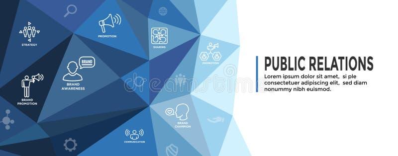 Portada de la web de las relaciones p?blicas y sistema del icono con conocimiento de marca, estrategia, y la promoci?n libre illustration