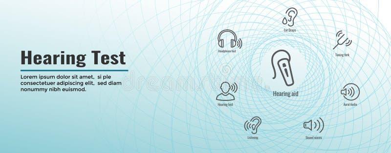Portada de la web de la prueba de audiencia - sistema de imágenes de la onda acústica ilustración del vector