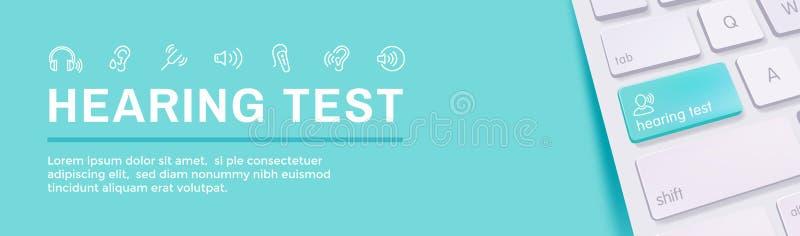 Portada del audífono o de la pérdida/de la onda acústica de imágenes del sistema de la web de la prueba de audiencia w libre illustration