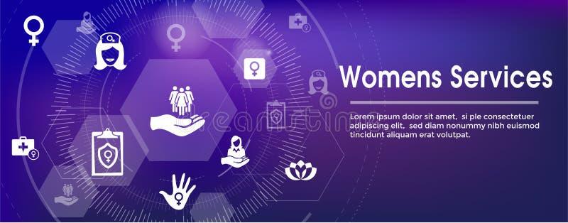 Portada determinada del web del icono de los servicios médicos del ` s de las mujeres - De abstracto ilustración del vector