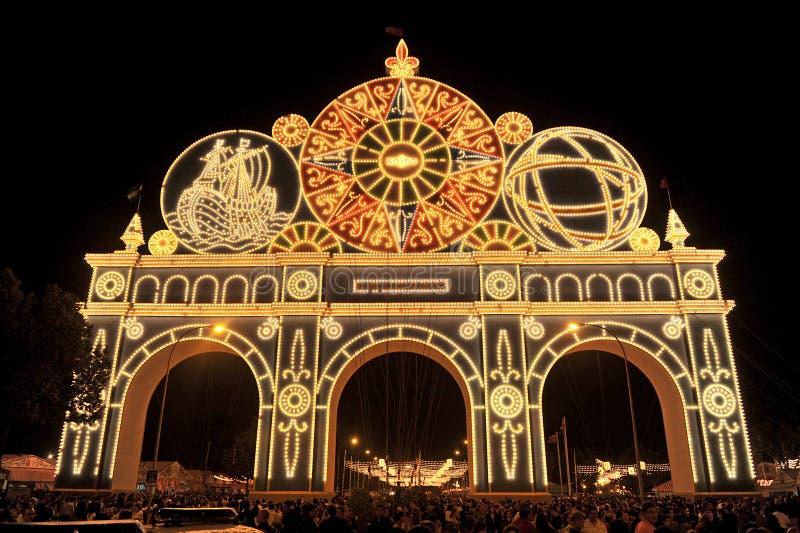 Portada iluminada en Feria de Sevilla, España foto de archivo libre de regalías