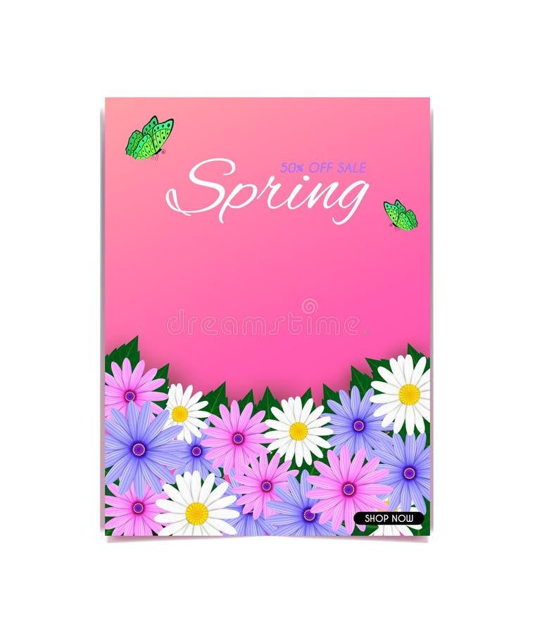 Portadas de revista del vector y paisaje natural Y una variedad de ramo colorido de margarita libre illustration