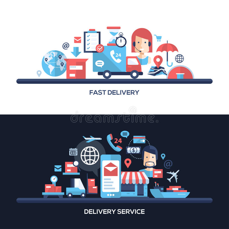 Portadas planas del sitio web del servicio de entrega del diseño fijadas libre illustration