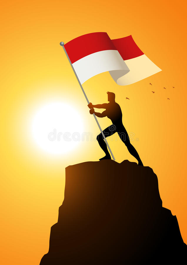 Portador de bandeira de Indonésia ou de Mônaco ilustração royalty free