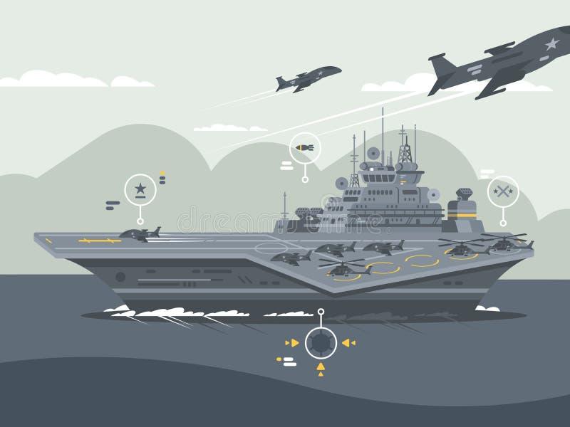 Portador de los aviones militares ilustración del vector
