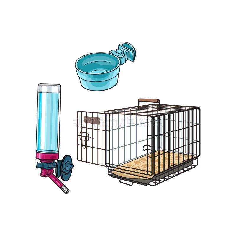 Portador del viaje del animal doméstico del alambre de Metail, cuenco de alimentación y bebedor recargable stock de ilustración