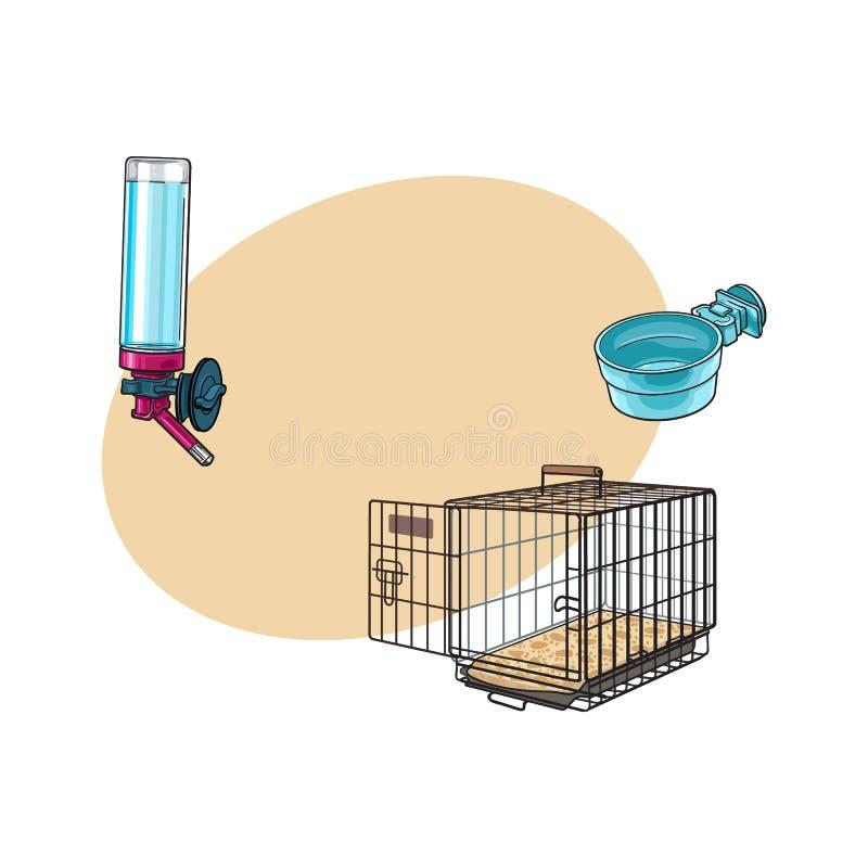 Portador del viaje del animal doméstico del alambre de metal, cuenco de alimentación y bebedor recargable ilustración del vector