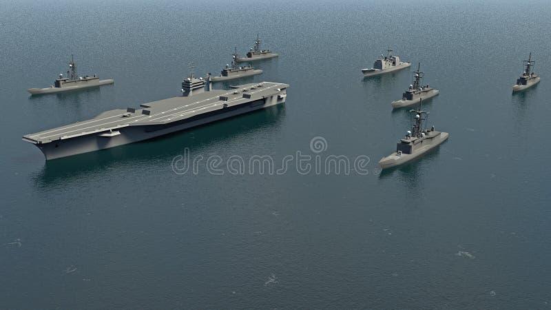 Portaerei americani con i distruttori e un incrociatore nell'oceano Pacifico verso Koreaì del nord illustrazione di stock