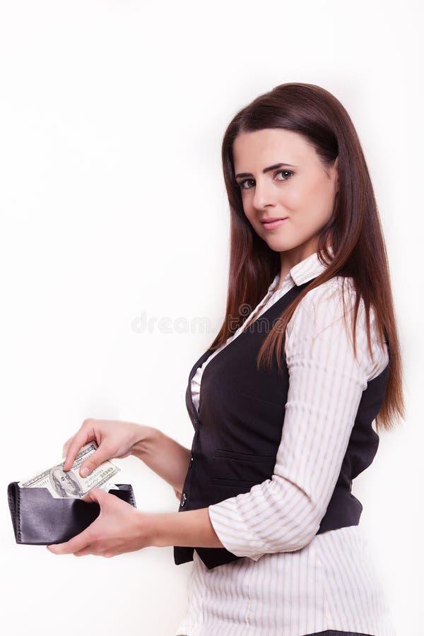 Portafoglio castana della borsa della donna di affari su fondo bianco fotografie stock