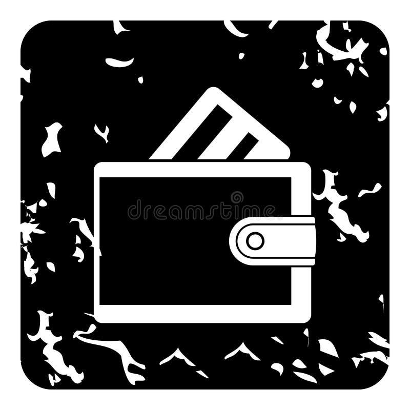 Portafoglio con l'icona della carta di credito, stile di lerciume illustrazione vettoriale