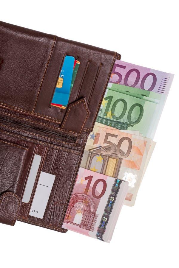 Portafoglio con le euro banconote fotografia stock libera da diritti