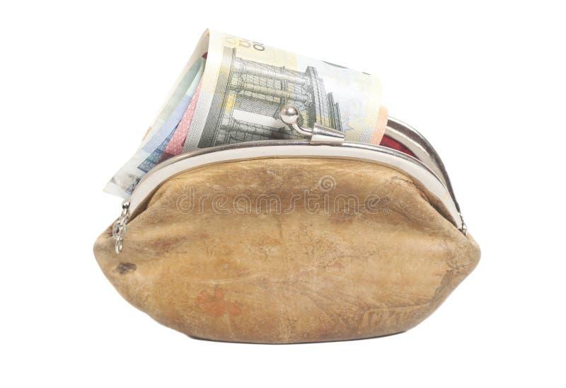 Portafoglio con le euro banconote isolate su bianco immagini stock libere da diritti