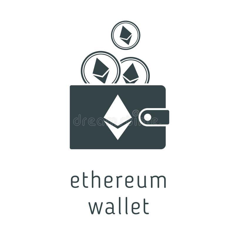 Portafoglio di ethereum di vettore con le monete illustrazione di stock