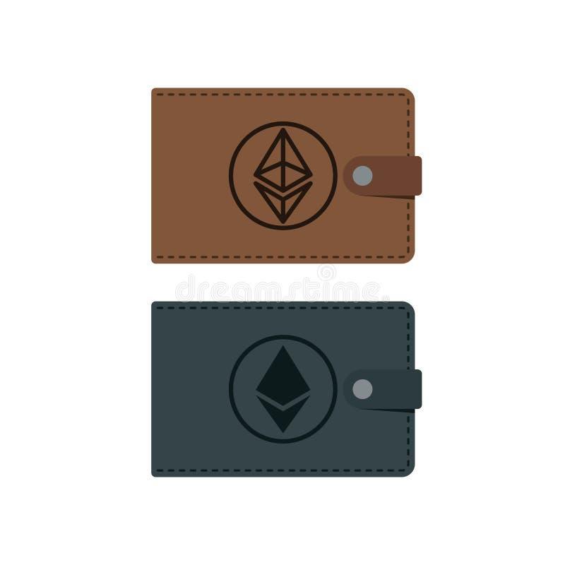 Portafoglio di ethereum di vettore con le monete illustrazione vettoriale