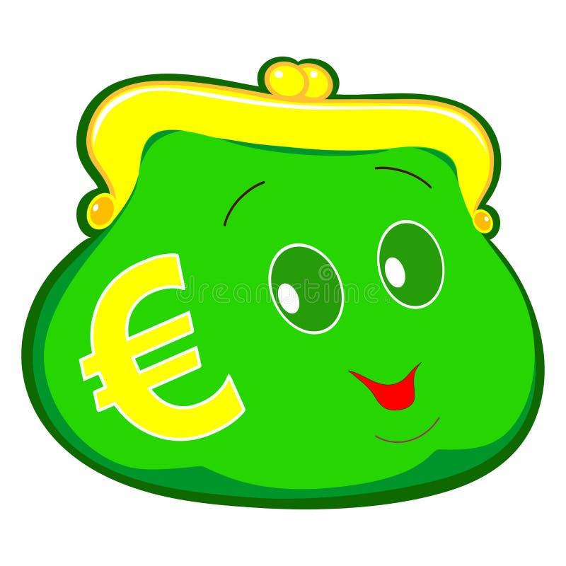 Portafoglio isolato verde, euro simbolo su fondo vuoto, illustrazione illustrazione vettoriale